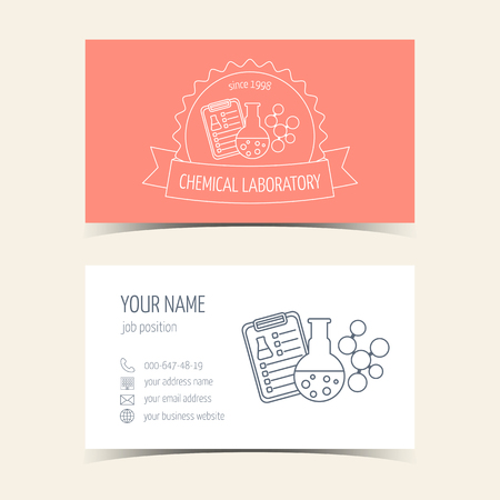 promotional products: Red business cards for chemical laboratory and scientific companies. Promotional products. Vector illustration Illustration