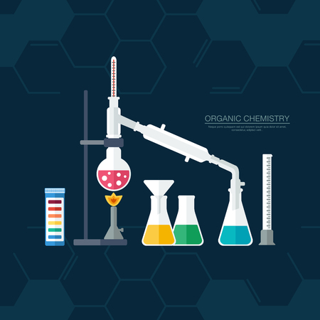synthesis: Organic chemistry. Synthesis of substances. Border of benzene rings. Flat design. vector illustration