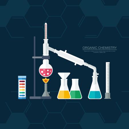 quimica organica: Qu�mica org�nica. S�ntesis de sustancias. Frontera de anillos de benceno. Dise�o plano. ilustraci�n vectorial