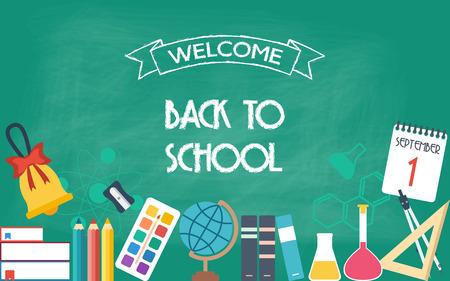 scuola: Banner orizzontale, sfondo, poster dalle icone di scuola e istruzione. Di nuovo a scuola. Design piatto. illustrazione vettoriale