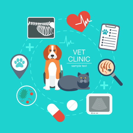 Banner, background, poster, concept with veterinary icons. Vet clinic. Flat design. Vector illustration