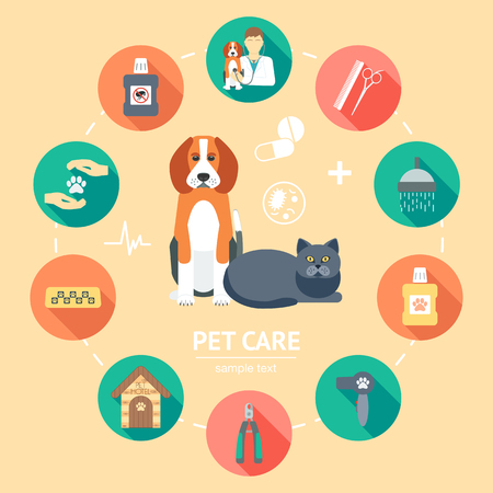 Pet care flat icon set. Pet care banner, background, poster, concept. Flat design. Vector illustration Vettoriali