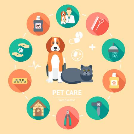 Pet Care piatta icon set. Pet Care banner, sfondo, poster, concetto. Design piatto. Illustrazione vettoriale Archivio Fotografico - 46365274