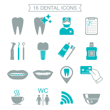 dental mirror: 16 Dental icons. Silhouette. Color block. Isolated. vector illustration Illustration