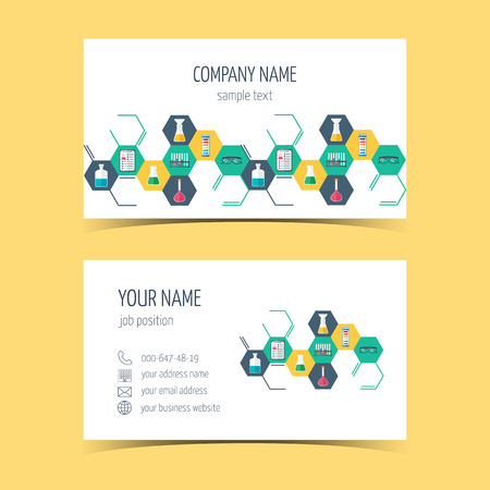promotional products: Business cards for chemical and scientific companies. Promotional products. Vector illustration Illustration