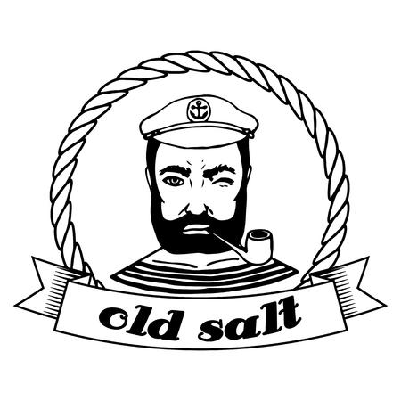 seaman: Marine Doodle label. Seaman. Isolated. vector illustration