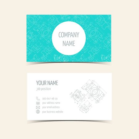 prefabricated: Engineering business card. The front side and the back. vector illustration Illustration