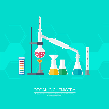 synthesis: Chemical concept. Organic chemistry. Synthesis of substances. Border of benzene rings. Flat design. vector illustration