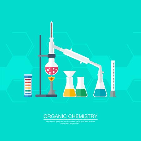quimica organica: Concepto qu�mico. Qu�mica org�nica. S�ntesis de sustancias. Frontera de anillos de benceno. Dise�o plano. ilustraci�n vectorial