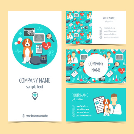Collection of promotional products for vet clinic. Flyer, brochure and business cards. Pet care.  Flat design. Vector illustration