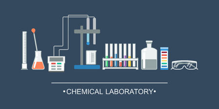 ion: Banner chemical objects. Chemical laboratory equipment, ion electrode. vector illustration