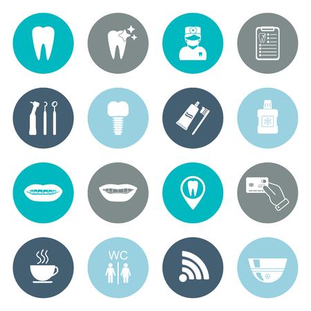 Set of dental icons. Silhouette. White. Flat design. vector illustration Vettoriali