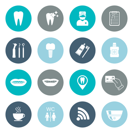 Set of dental icons. Silhouette. White. Flat design. vector illustration Illusztráció
