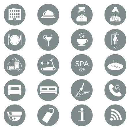 Hotel services icons. Silhouette. Flat design. vector illustration Vettoriali