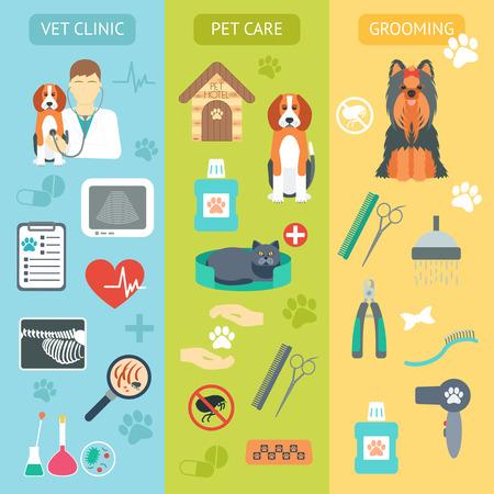 veterinario: Conjunto de banderas verticales. Cuidado de mascota. Clínica veterinaria. Grooming. Diseño plano. Ilustración vectorial