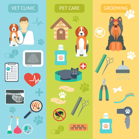 Set of vertical banners. Pet care. Vet clinic. Grooming. Flat design. Vector illustration
