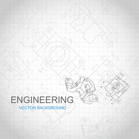 Engineering background with technical drawing. vector illustration Vettoriali