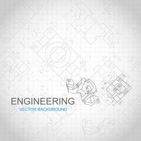 Technische achtergrond met technische tekening. vector illustratie Stockfoto - 46365862