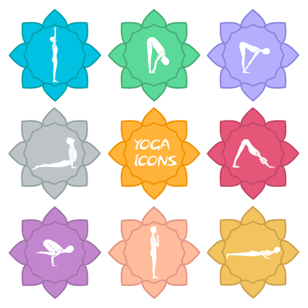 Set of yoga icons. Flat design. vector illustration€