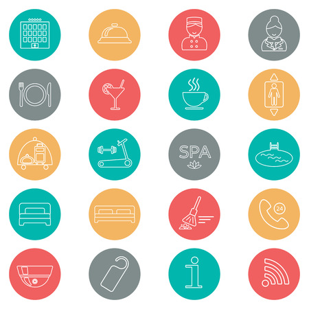 porter: Icons of hotel service. Thin line icon. Hotel glyph. Colorful button. Vector illustration