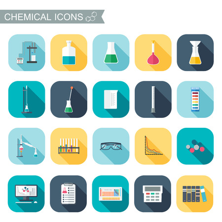 reagent: Chemical icons. Chemical glassware.  Flat design. Vector illustration