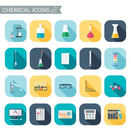 bureta: Iconos químicos. cristalería química. Diseño plano. ilustración vectorial Vectores