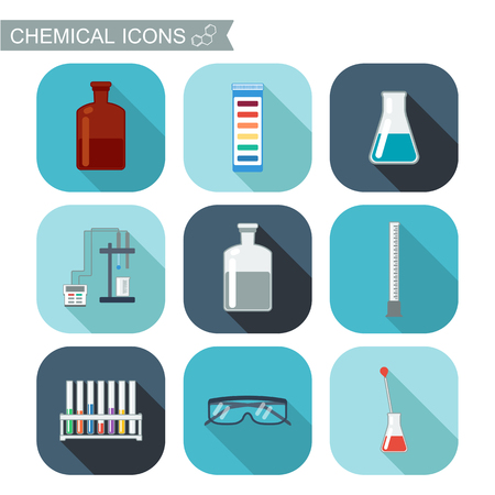chemical laboratory: Chemical icons. Flat design with shadows. Chemical Laboratory, chemical glassware. vector illustration Illustration