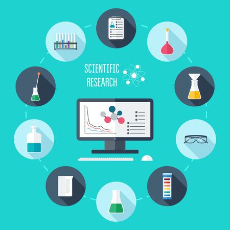 scientific research: Chemical flat icon set. Scientific banner, background, poster, concept. Scientific research. Flat design. Vector illustration