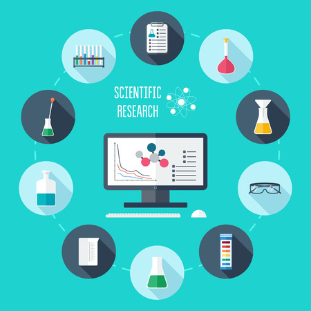 bureta: Química conjunto de iconos plana. Bandera Científico, fondo, cartel, concepto. Investigación científica. Diseño plano. Ilustración vectorial
