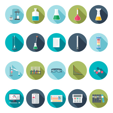 Icone chimiche. Misurazione utensili. Design piatto. illustrazione vettoriale Archivio Fotografico - 46366327