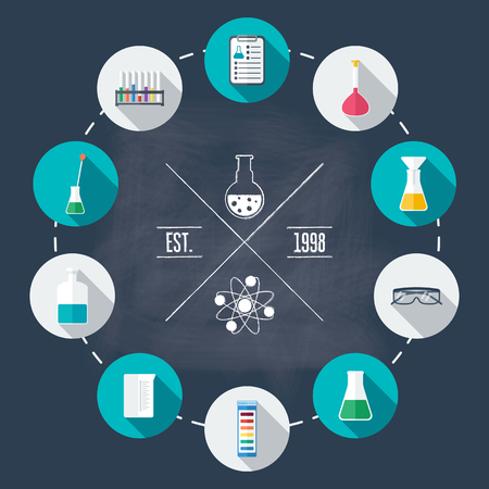 reagent: Chemical laboratory flat icon set. Scientific research. Flat design. Vector illustration