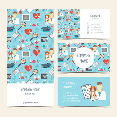 promotional products: Flyer, brochure and business cards for vet clinic. Pet care. Set of promotional products. Flat design. Vector illustration Illustration
