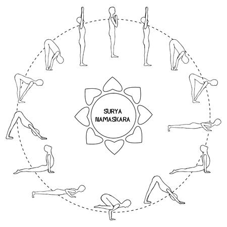 Cycle exercise in yoga sun salutation. Silhouette outline. Vector illustration€ Ilustração