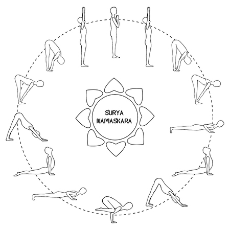 Cycle exercise in yoga sun salutation. Silhouette outline. Vector illustration€