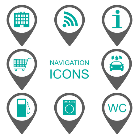 reference point: Navigation icons. Silhouette icons. Scope of services. Flat design. vector illustration Illustration