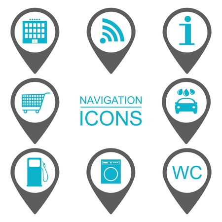 reference point: Navigation icons. Silhouette icons. Service industries. Blue. vector illustration