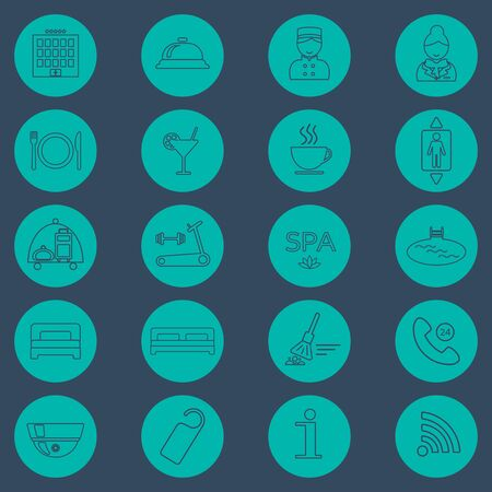 glyph: Hotel line icons set.  Hotel glyph. Button. Vector illustration
