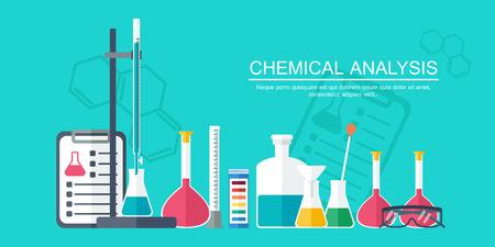 bureta: Bandera Química, fondo, cubierta. Química analítica. Diseño plano. Ilustración vectorial