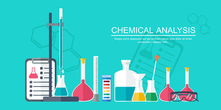 analytical: Chemical banner, background, cover. Analytical chemistry. Flat design. Vector illustration