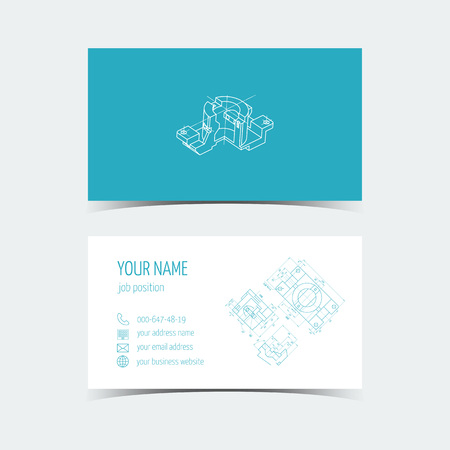 prefabricated: Set of engineering business card. 3D drawing. Blue color. Vector illustration