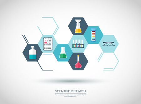 analytic: Sconcept. Chemical banner, background, cover. Chemical icons. Flat design. vector illustration