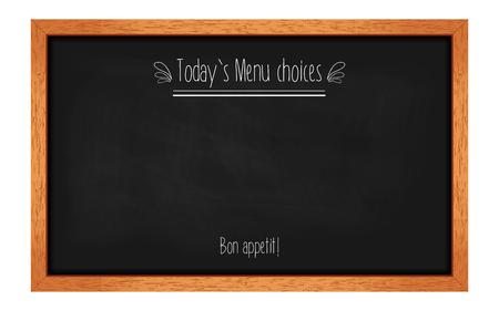 Pizarra menú horizontal para cafés y restaurantes con una inscripción. Marco de madera realista. ilustración vectorial Foto de archivo - 46367173