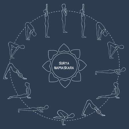 salutation: Cycle exercise in yoga sun salutation. Silhouette outline. Asanas. Vector€ illustration
