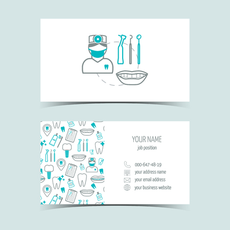 promotional products: Business cards for dental clinic. Promotional products. Line icons. Flat design. Vector illustration