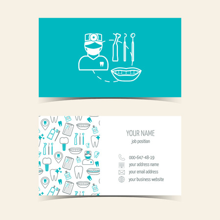 Business cards for dental clinic. Promotional products. Flat design. Vector illustration