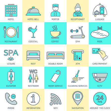 glyphs: Set of hotel icons line. Hotel service. Logo, glyphs and pictogram collection. Vector illustration