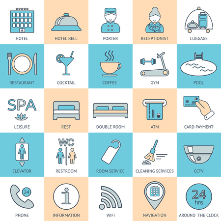 glyphs: 25 line hotel services icons. Color block. Logo, glyphs and pictogram collection. Vector illustration
