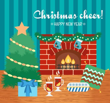 attributes: Christmas cheer and attributes. Christmas gift card. New Year greetings. Flat design. Vector illustration