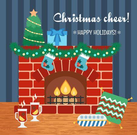 cheer: Christmas attributes. Christmas gift card. Christmas cheer. Flat design. Vector illustration Illustration