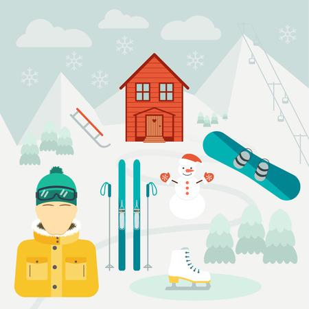 ski resort: Winter holidays. Winter sport. Ski resort.  Icons in the flat design. Vector illustration